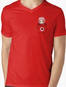 Pocket Sakura Mens V-Neck T-Shirt