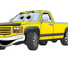 Yellow Pick Up Truck Cartoon by Graphxpro