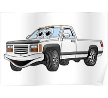 White Pick Up Truck Cartoon Poster
