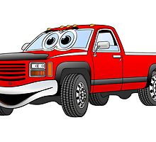 Red  Pick Up Truck Cartoon by Graphxpro