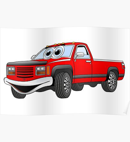 Red  Pick Up Truck Cartoon Poster