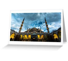 Illuminated: Blue Mosque in Istanbul, Turkey  Greeting Card