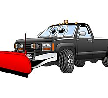 Black R Pick Up Truck Snow Plow Cartoon by Graphxpro