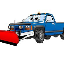 Blue R Pick Up Truck Snow Plow Cartoon by Graphxpro