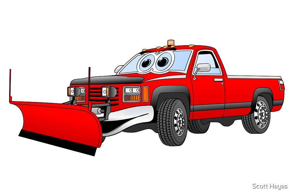 Red R Pick Up Truck Snow Plow Cartoon by Graphxpro