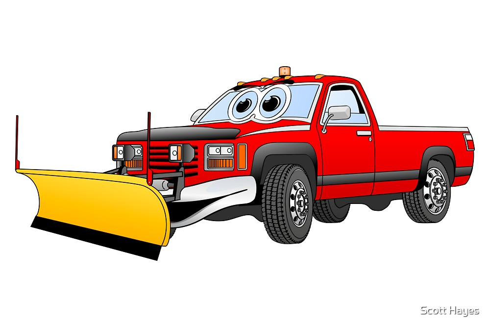 Red Y Pick Up Truck Snow Plow Cartoon by Graphxpro