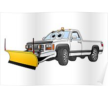 White Y Pick Up Truck Snow Plow Cartoon Poster