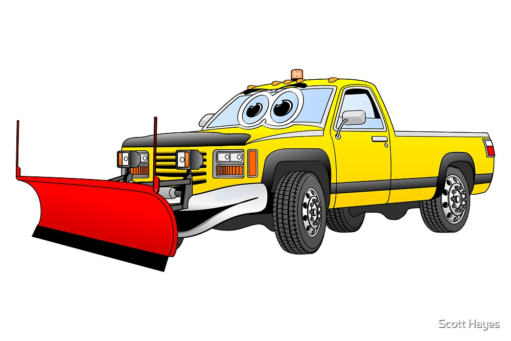 Yellow R Pick Up Truck Snow Plow Cartoon by Graphxpro