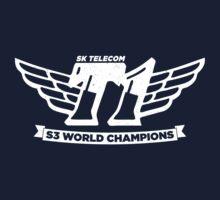 Navy SKT T1 World Champions Vintage Tee by LetsPlayMax