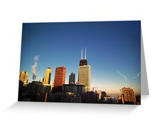 Chicago on a cold winter morning at sunrise Greeting Card