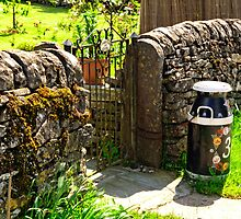 Hand Painted Milk Churn Beside Gateway by Rod Johnson