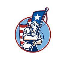 American Patriot Serviceman Soldier Flag Retro by patrimonio