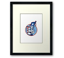 American Patriot Serviceman Soldier Flag Retro Framed Print