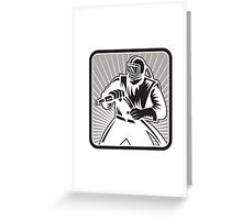 Sandblaster Sand Blaster Woodcut Retro Greeting Card