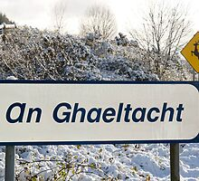 an ghaeltacht sign in snow scene by morrbyte