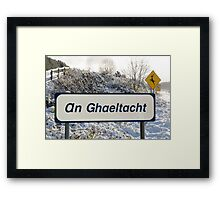 an ghaeltacht sign in snow scene Framed Print
