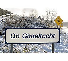 an ghaeltacht sign in snow scene Photographic Print
