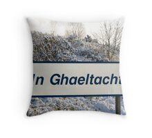 an ghaeltacht sign in snow scene Throw Pillow