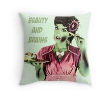 Zombie Vintage Halloween Card Throw Pillow