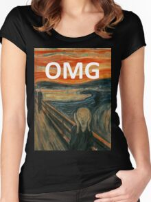 OMG The Scream Funny Shirt  Women's Fitted Scoop T-Shirt