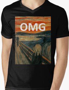 OMG The Scream Funny Shirt  Mens V-Neck T-Shirt