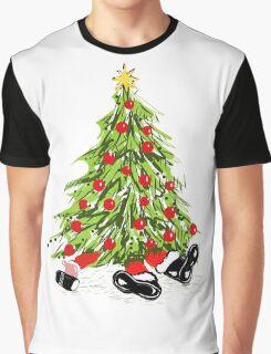 Santa Under Christmas Tree Graphic T-Shirt