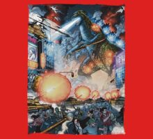 Godzilla Stomps Tokyo by Al Rio Kids Clothes