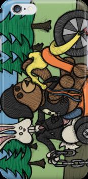 Teddy Bear And Bunny - Easy Rider by Brett Gilbert