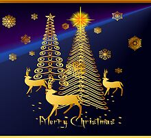 Gold Christmas Trees and Reindeer by Lotacats