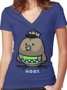 Jerome, the Policing Owl: H.O.O.T. Women's Fitted V-Neck T-Shirt