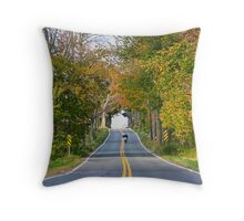 Bike riding in autumn Throw Pillow