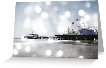 Sparkling Grey Santa Monica Pier Greeting Card from RedBubble