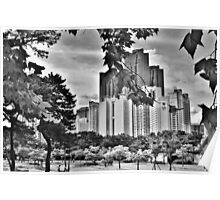 Black and White Busan Skyline Poster