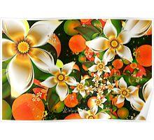 Fractal Orange Blossoms Poster
