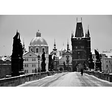 Prague, Charles Bridge, in Snow Photographic Print
