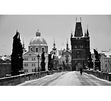Prague, Charles Bridge, in Snow Photographic Print