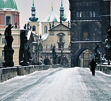 Snow on Prague's Charles Bridge with a hint of color by Jennifer Lyn King