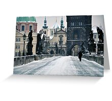 Snow on Prague's Charles Bridge with a hint of color Greeting Card