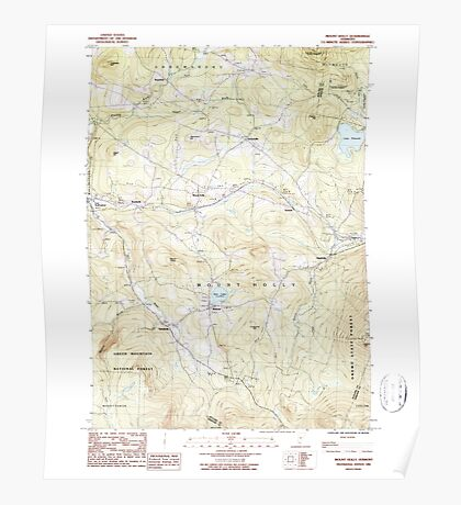 USGS Topo Map  Vermont VT Mount Holly 337536 1986 24000 Poster