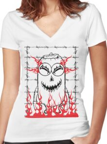 Evil pumpkin mini Women's Fitted V-Neck T-Shirt