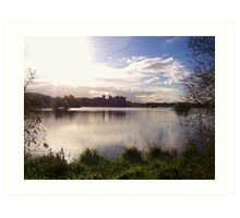 Sunset over Linlithgow Palace and Loch Art Print