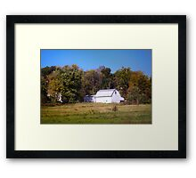 OLD WHITE BARN IN THE KNOBS OF INDIANA Framed Print