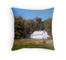 OLD WHITE BARN IN THE KNOBS OF INDIANA Throw Pillow