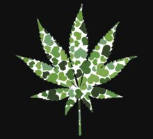 Love and Weed - Love and Pot - Weed leaf with green hearts by Denis Marsili