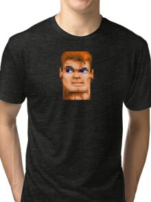 Wolfenstein 3D (Head) - Retro DOS game fan shirt HD pixels Tri-blend T-Shirt