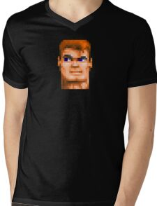 Wolfenstein 3D (Head) - Retro DOS game fan shirt HD pixels Mens V-Neck T-Shirt