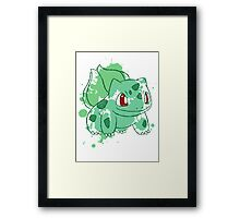 Bulbasaur Splatter Framed Print