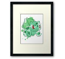 Bulbasaur Splatter Framed Print
