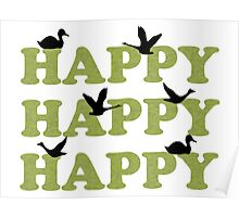 Green Digital Camo Happy Happy Happy Poster