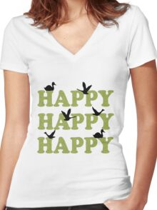 Green Digital Camo Happy Happy Happy Women's Fitted V-Neck T-Shirt